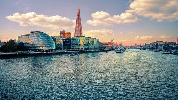 Skyscraper, Tower, River, Ship, London, Skyline