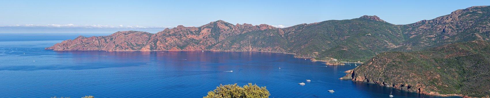 Sea, Mountains, Boats, Golf Of Girolata, Corsica