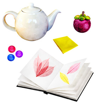 Tea Pot, Post It, Watercolor, Skeleton Leaves, Book
