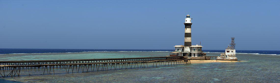 Reef, Lighthouse, Sky, Ocean, Semaphore, Jetty, Pier