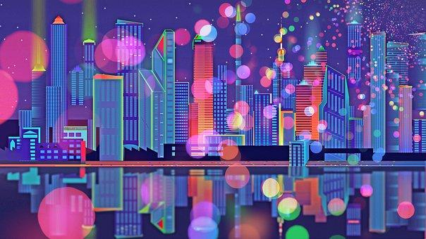 City, Skyline, Digital Paper, Skyline Background