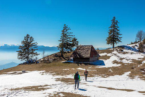 Cabin, Hut, Hikers, Trees, Snow, Mountains, Hiking, Sky