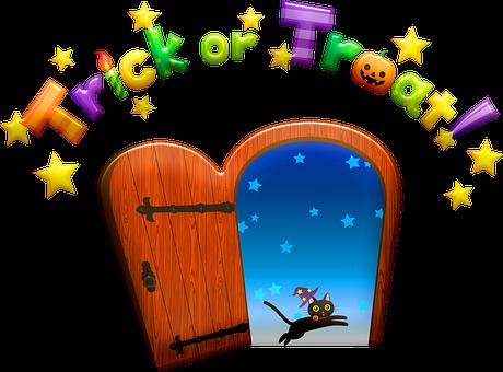Door, Black Cat, Stars, House, Halloween