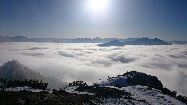 Mountains, Peak, Clouds, Sun, Sunlight, Summit