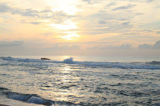 Sri Lanka, Asia, Sea, Sun, Sunrise, Sunset, Nature