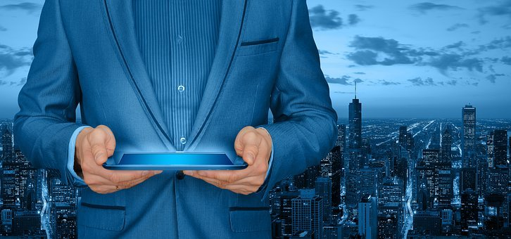 Man, Suit, Tablet, Businessman, Control, City