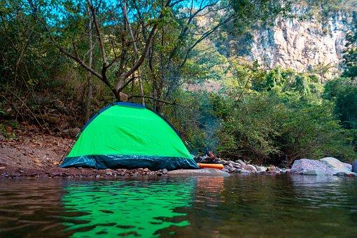 Tent, Camp, River, Bonfire, Mountain, Forest, Adventure