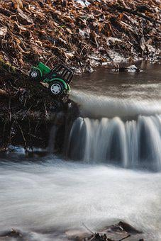 Toy, Car, Truck, River, Stream, Figurine, Forest, Water