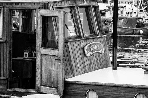 Boat, Port, Black And White, Door, Wooden Boat, Dock
