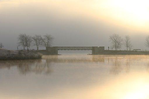 Dawn, Bridge, Foggy, Morning, Walk