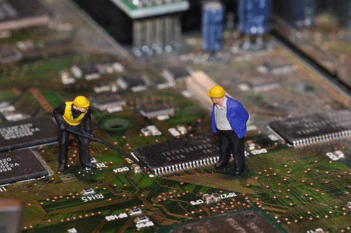 Construction Workers, Circuit Board, Miniature, Toys