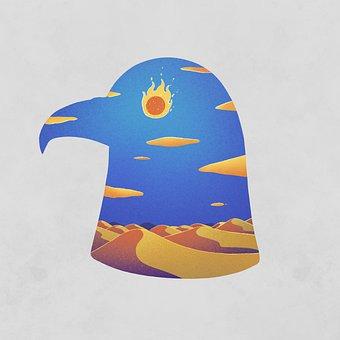 Eagle, Desert, Sun, Eyes, Cartoon, Imagination, Fantasy