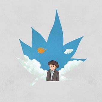 Man, Sky, Fallen Leaves, Traveler, Cartoon, Imagination