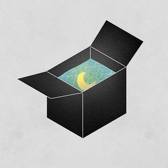 Moon, Box, Water, Packaging, Fantasy, Creativity