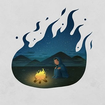 Man, Bonfire, Flame, Field, Night, Creativity, Painting