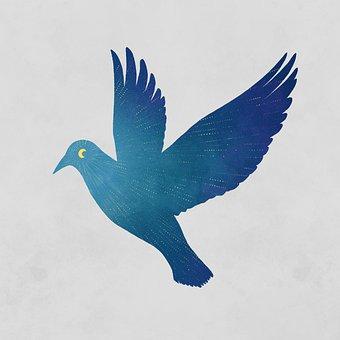 Bird, Moon, Flight, Light, Imagination, Fantasy