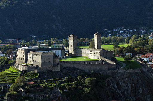 Castle, Fortress, Stairs, Bridge, Building, Mountains