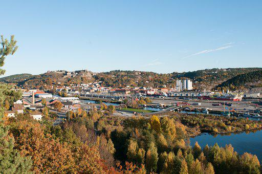 Town, Mountains, Panorama, Halden, Fredriksten