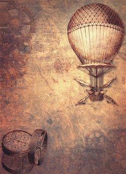 Steampunk, Hot Air Balloon, Clock, Map, Gears, Balloon