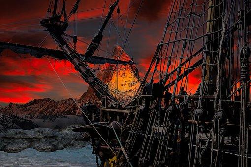 Ship, Mountain, Fantasy, Sunset, Sea, Ocean, Coast