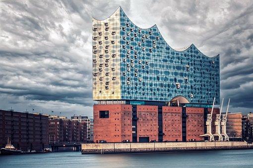 City, River, Elbe Philharmonic Hall, Hamburg, Port