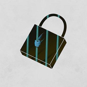 Lock, Hand, Prisoner, Cartoon, Imagination, Fantasy