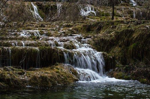 Waterfall, River, Forest, Cascades, Stream, Moss, Flow