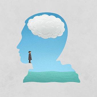 Brain, Ocean, Cloud, Sky, Cartoon, Imagination, Fantasy