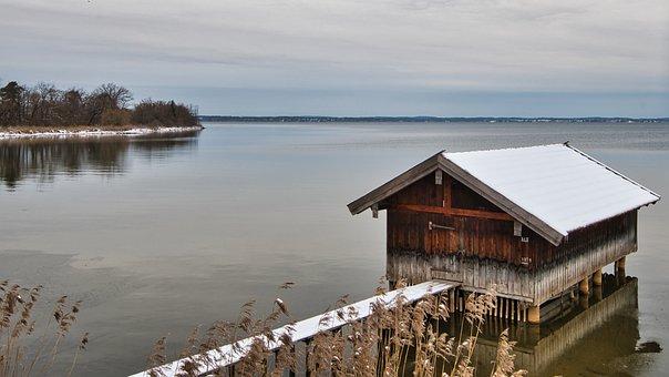 Boathouse, Lake, Winter, Snow, Dock, Bank, Reed, Hut