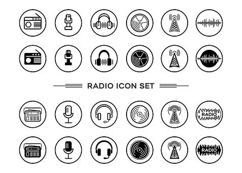 Radio, Music, Icons, Headsets, Sound, Equipment