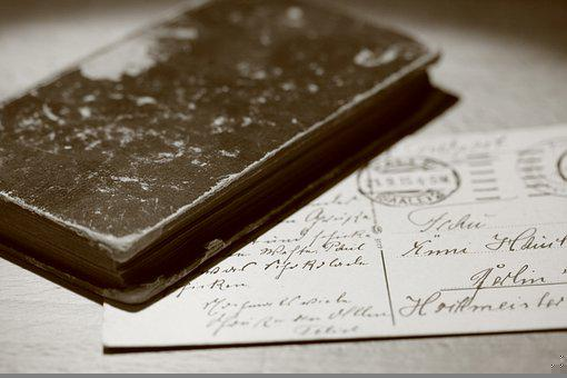 Diary, Postcard, Monochrome, Old, Retro, Still Life
