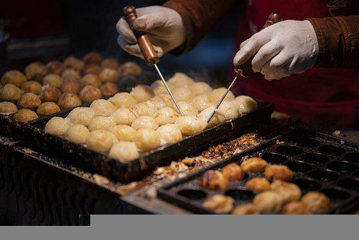Octopus, Balls, Snack, Supper, Chinese, Market, Gourmet