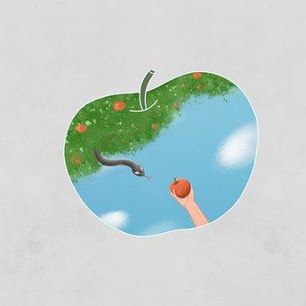 Snake, Apple, Tree, Imagination, Fantasy, Creativity