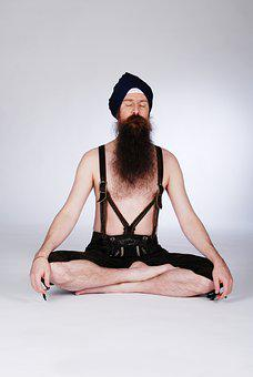 Yoga, Meditation, Man, Turban, Beard, Suspenders