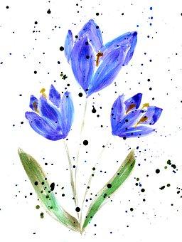 Crocus, Tulip, Spring, Watercolor, Watercolor Painting