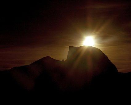 Sunrise, Rocks, Silhouette, Yosemite, California