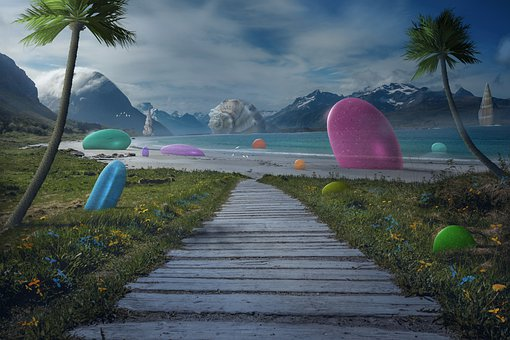 Fantasy, Beach, Walkway, Path, Coast, Seashore, Sea