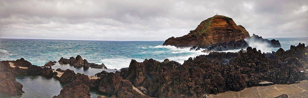 Ocean, Coast, Island, Sky, Nature, Cloudy, Madeira