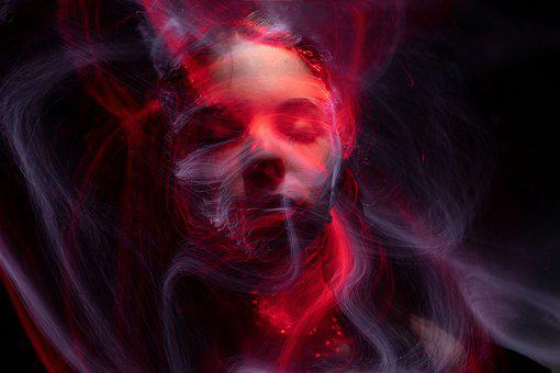 Woman, Face, Light Painting, Colorful, Dust, Eyes