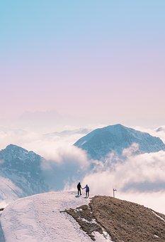 Mountains, Snow, Trail, Couple, Sunset, Sunrise, Ice
