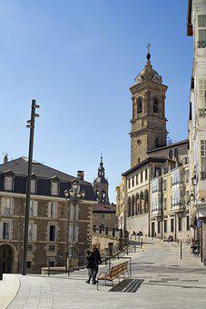 Town, Street, Church, Tower, Road, Pavement, Medieval