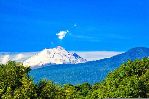 Mountain, Volcano, Trees, Clouds, Slope, Outdoors