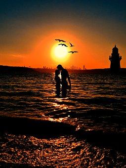 Couple, Lovers, Sunset, Birds, Sky, Sun, Nature, Water