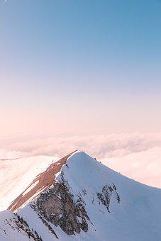 Mountains, Snow, Sunset, Sunrise, Ice, Frost, Clouds
