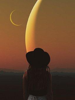 Woman, Moon, Stars, Galaxy, Space, Universe, Fantasy
