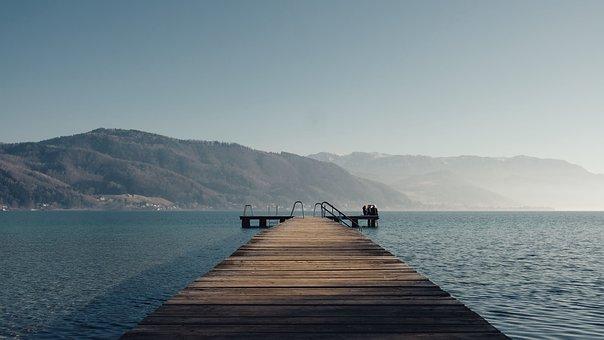 Pier, Lake, Coast, Mountains, Horizon, Water, Nature