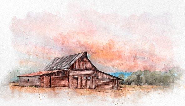 Barn, Farm, Photo Art, Watercolor, Hut, Wooden House