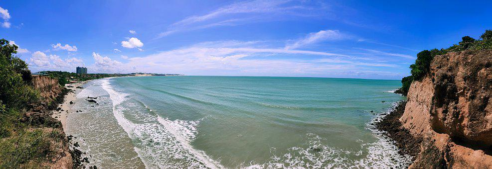 Brazil, Landscape, Overview, Beach, Sea, Horizon