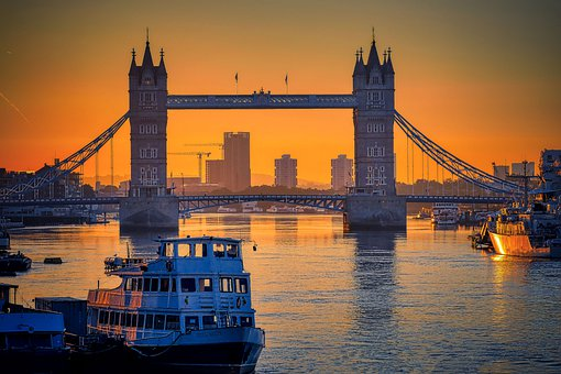 Tower Bridge, Boats, River, Sunset, Sunrise, Twilight