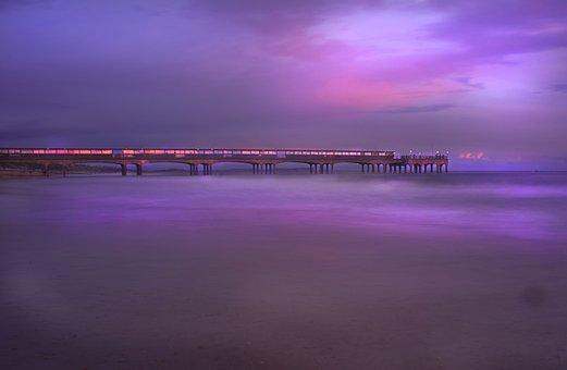 Pier, Beach, Bournemouth, Lights, Coast, Seashore